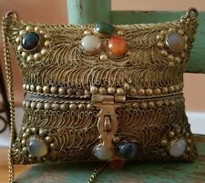VINTAGE BRASS COPPER HARD SHELL PILLOW PURSE POLISHED STONES VELVET LINING CHAIN