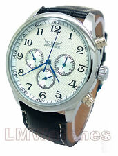 Jaragar Mens Watch Elegant White Automatic 6 Hand Multifunction Boxed New UK