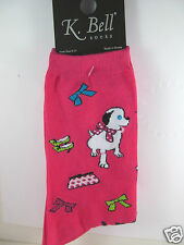 K.Bell Fushia Pink Playful Diva Dogs And Shoes Handbags Ladies Crew Socks New