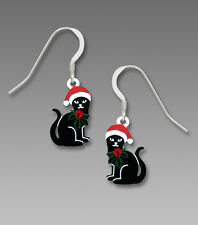Sienna Sky CHRISTMAS BLACK CAT EARRINGS Sterling Silver Santa Hat - Gift Boxed