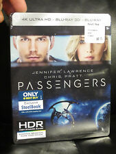 Passengers 4K UHD + 3D Disc + Blu Ray Digital HD Steelbook Sealed Mint In Hand