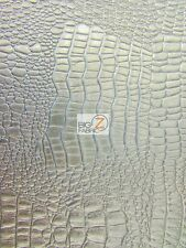 "VINYL PLEATHER EMBOSSED SHINY AMAZON CROCODILE FABRIC - Silver - 58/60"" SOLD BTY"