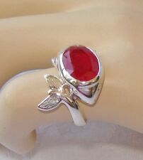 NATURAL 5.25 CT RUBY DOLPHIN RING, SIZE 6.75 ~ WHITE GOLD over 925 STERLING S.