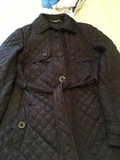 Hobbs Long Quilted Navy Coat Size 8