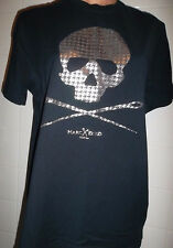 Marc Ecko Men's M Cut & Sew Silver Metallic Skull Scissors Graphic T-shirt Black