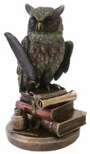"9"" Eagle Owl on Book Statue Figurine Wild Life Animal Figure Wisdom Knowledge"
