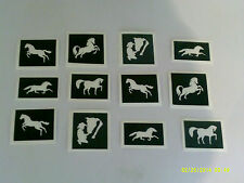 30 x Horse themed stencils for glitter tattoos / airbrush / cakes / many uses!