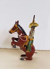 Antique occupied Japan? tin rodeo cowboy and horse clockwork windup toy.German?