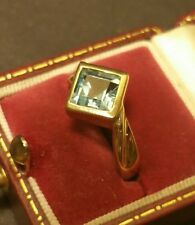 Fine Vintage Art-Deco Style 9CT Yellow Gold 5ct Aquamarine Solitaire Ring Size P