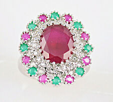 Noble Ruby & Emerald & white Topaz Gemstones Silver Ring Size 7