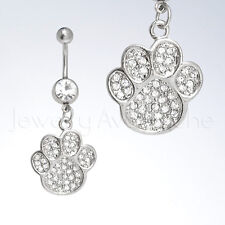 Dangling DOG PAW w/ CZ Ladies Surgical Steel Belly Ring, Navel Piercing Jewelry