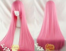 Hot Sale NEW pink long straight cosplay wig 100cm +gift