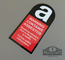 ENGINE BAY RESTORATION DECAL PORSCHE 924 - WARNING CONTAINS ASBESTOS STICKER