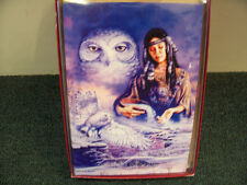 BEAUTIFUL SNOWY WHITE OWL & INDIAN MAIDEN IN SKY CHRISTMAS CARD SET NEW !