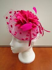 Ladies Feather Fascinator hair clip & hairband Hot Pink Ivory silver red purple