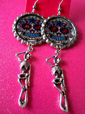 Day Of The Dead Sugar Skull With Skeleton Dangle Charm Earrings #22