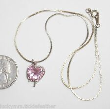 Vtg KOREA Pendant Necklace, Pink Crystal Heart w/Pink RS Accents, Cobra Chain ST