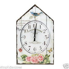 "Shabby French Vintage Bird House Glass Wall Clock Roses ""LE BOUQUET DE PROVENCE"""