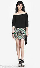 NEW EXPRESS AZTEC SEQUIN EMBELLISHED MINI SLIP ON SKIRT DECO TRIBAL GEOMETRIC S