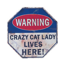 Warning Crazy Cat Lady Retro Style Fridge Magnet Mini Sign Cat Lovers Funny Gift