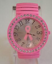 Pink Finish with Pink Breast Cancer Ribbon Fashion Stone Stretch Band Watch