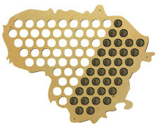 Beer Cap Traps Map of Lithuania Bottle Caps Wooden Organizer 21 x 16