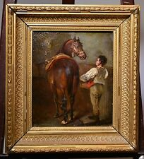 Listed Dutch Animalist Master Grooming HORSE framed XIX antique oil painting
