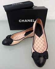 CHANEL CC Leder Ballerinas Gr.37  Shoes Slipper Schuhe Schwarz Rosa 3912