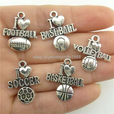 20pc Alloy I Love Volleyball Sports Baseball Football Soccer Basketball Pendants