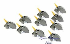 NEW Lego Lot/10 Castle Dark Gray Minifig HORSE BATTLE HELMET w/Gold Horn Weapon
