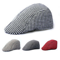 4Color Mens Tweed Flat Cap Herringbone Country Peak Hat Farmer Golf Classic sale