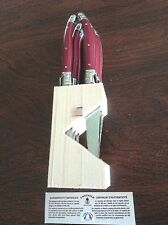 LAGUIOLE JEAN DU BOST 6 RED STEAK KNIVES FRANCE W/HOLDER NIB