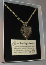 Memorial Locket Necklace Always in My Heart Antique Gold Ash Urn Inside New