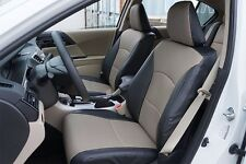 HONDA ACCORD 2013-2017 BLACK/GREY LEATHER-LIKE CUSTOM MADE FIT FRONT SEAT COVER