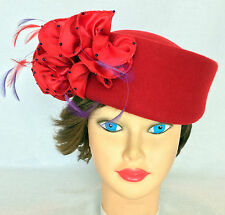 Red Hat Society SCALA Pillbox Wool Ruffle Purple Feathers, Beads KY Derby Church