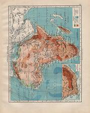 Carte victorienne 1902 ~ Afrique terre physique mer hauteurs & profondeurs colonie du Cap