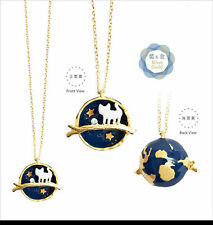 Gold Plated Fashion Universe Star Cat Pendant Necklace