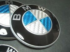 BMW EMBLEM STICKER Logo Badge 45mm White/Blue Carbon Fiber Car steering wheel