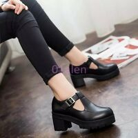 Womens Girls Platform Chunky Block Heel T Strap Bar mary Janes Pumps Shoes Boots