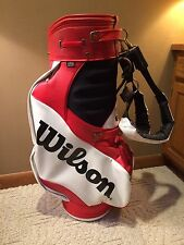Vintage Wilson Staff Pro Professional Tour Golf Bag Red And White Caddie Straps