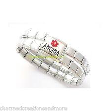 Angina Mega Link 9mm Italian Charm Heart Condition Shiny Medical Alert Bracelet