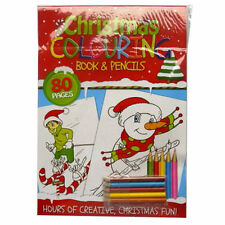 Christmas Colouring Book & 4 Pencils 80 Pages Children Kids Gift Age 3+