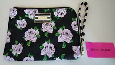 BETSEY JOHNSON FLORAL WRISTLET PURPLE LAVENDER ROSES FLOWERS POLKA DOT POUCH BAG