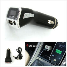 3in1 Black LCD Screen Car Charger Phone USB MP3 Player Handsfree FM Transmitter