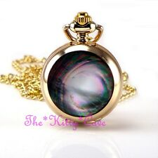 Miniature Gold Plt Abalone Shell Pocket Half Hunter Steampunk Necklace Fob Watch