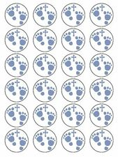 X24 BABY BOYS FOOTPRINT CHRISTENING / BAPTISM CUP CAKE TOPPERS ON RICE PAPER