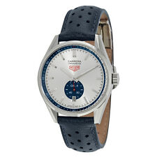 Tag Heuer Carrera Silver Dial Blue Leather Watch WV5111FC6350