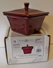 Belk Store Exclusive Fiesta Square Covered Box, Candy Dish - Claret - New In Box