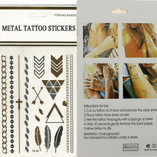 3 Sheet Hot Flash Temporary Tattoo Body Sticker Inspired Gold Silver Metallic