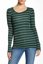 Heather by Bordeaux - L - NWT $78 Green Striped L/S Fitted Knit Top - Layer Tee